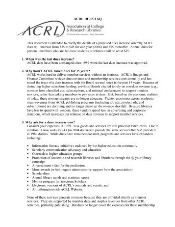 ACRL DUES FAQ This document is intended to clarify the details of ...