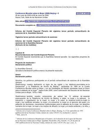 68 Conferencia Mundial sobre la Mujer (2000) Beijing + 5 (volver al ...