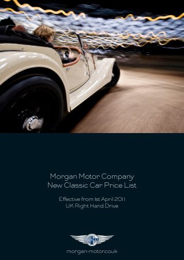 Morgan Motor Company New Classic Car Price List