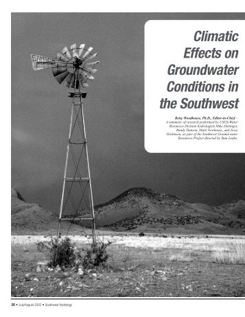 Climatic Effects on Groundwater Conditions in the Southwest - SAHRA