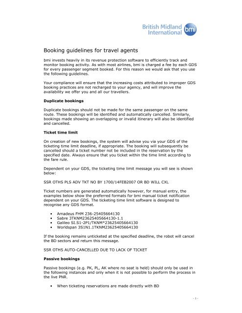 Booking guidelines for travel agents - British Airways