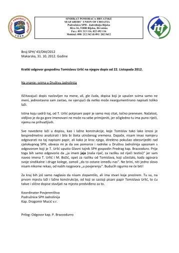 Odgovor Tomislavu Urliću predsjedniku Radničkog vijeća Društva ...