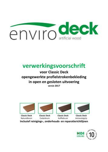 Envirodeck verwerkingsvoorschriften Classic Deck