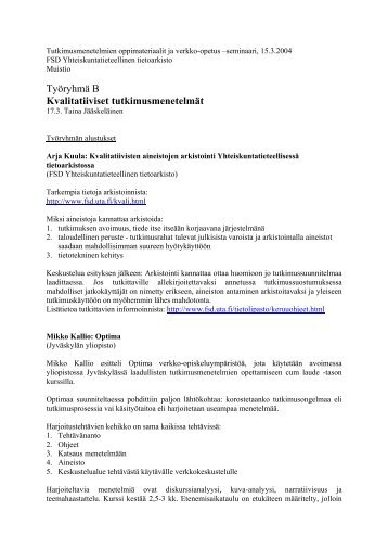 tiivistelmä, PDF - Yhteiskuntatieteellinen tietoarkisto - Tampereen ...