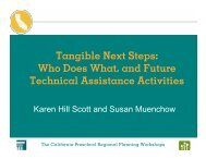 Tangible Next Steps: Who Does What, and Future ... - Karen Hill Scott