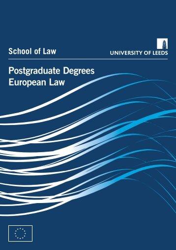 Postgraduate Degrees European Law - School of Law - University of ...
