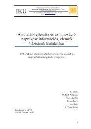 A kutatás-fejlesztés és az innováció naprakész információs, elemző ...