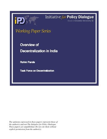 Working Paper Series - Initiative for Policy Dialogue
