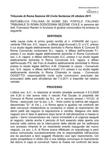 Sentenza stato di ebbrezza Tribunale Civile Roma 22.10.2011