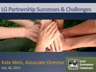 LG Partnership Successes & Challenges - Local Government ...