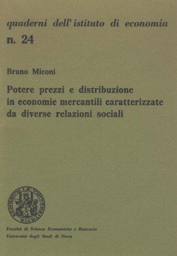 Potere prezzi e distribuzione in economie mercantili caratterizzate ...