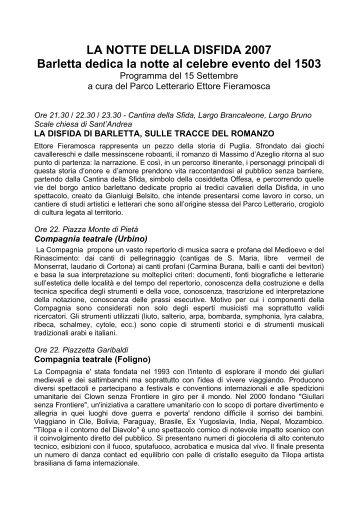 LA NOTTE DELLA DISFIDA 2007 Barletta dedica ... - Puglia Imperiale