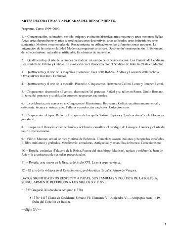 ARTES DECORATIVAS Y APLICADAS DEL RENACIMIENTO ...