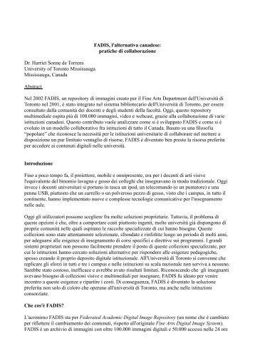 FADIS, l'alternativa canadese: pratiche di collaborazione Dr ... - IFLA