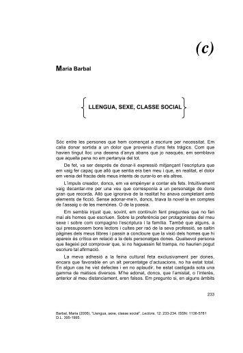 aria Barbal LLENGUA, SEXE, CLASSE SOCIAL