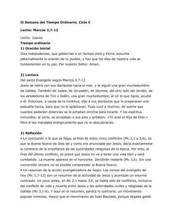 Jueves. San Marcos 3,7-12 - Homiletica.org