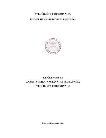 Etički kodeks - Sveučilište u Dubrovniku