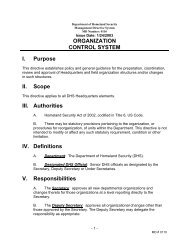 US Department of Homeland Security, Directive 0110_Organization ...