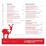 Swiss Lunch Specials - House of Switzerland