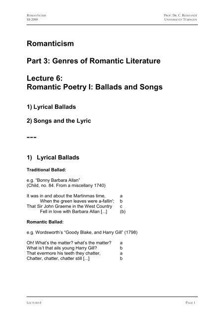 Romantic Poetry I: Ballads and Songs - Universität Tübingen