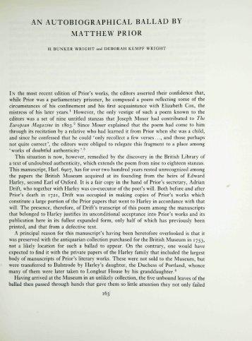 an autobiographical ballad by matthew prior - British Library
