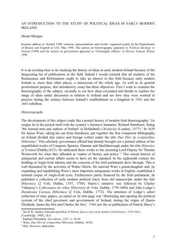 ideology and early modern ireland - University College Cork