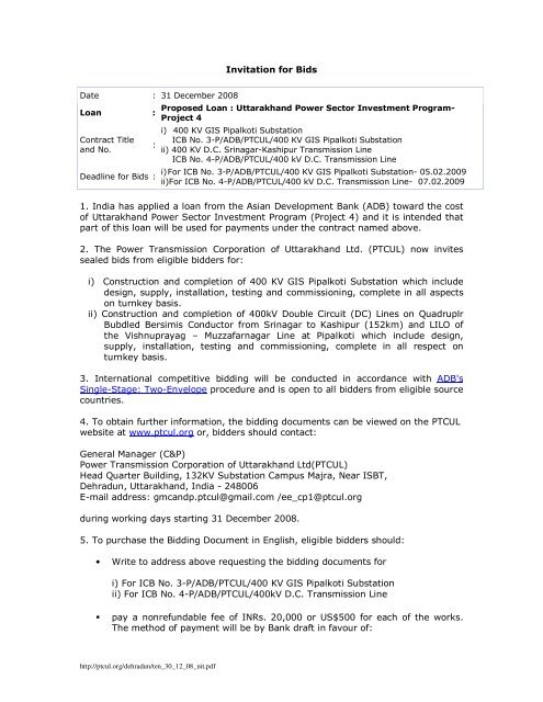 Invitation for Bids 1  India has applied a loan from the Asian