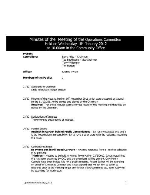 January 2012 - Watlington Parish Council
