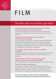 Recommandations generales Film FR [PDF] - Memoriav