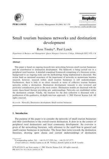 Small tourism business networks and destination development