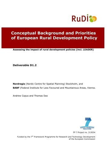 Conceptual Background and Priorities of European Rural ... - RuDI