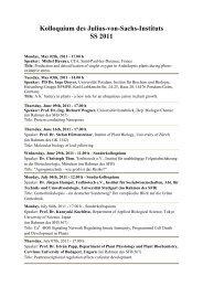Kolloquium des Julius-von-Sachs-Instituts SS 2011