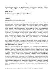 Julkaisufoorumi-luokitus ja viittausindeksit tieteellisten julkaisujen ...