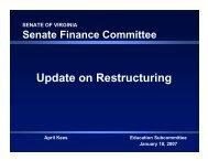 Update on Restructuring - Virginia Senate Finance Committee