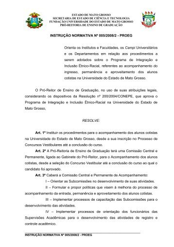 INSTRUÇÃO NORMATIVA Nº 005/2008/2 - PROEG ... - Unemat