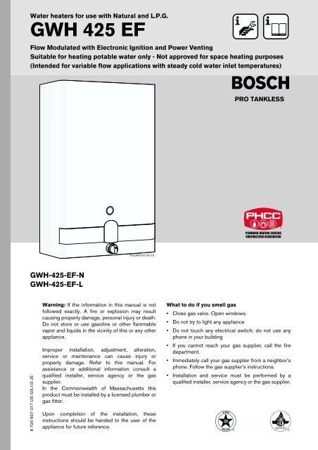 Owner S Manual Bosch Gwh425ef