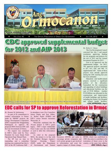 CDC approved supplemental budget for 2012 and AIP 2013 - Ormoc