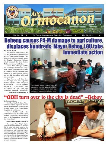 """ODH turn over to the city is dead"" –Beboy - City Government of Ormoc"