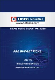 PRE BUDGET PICKS: - HDFC Securities