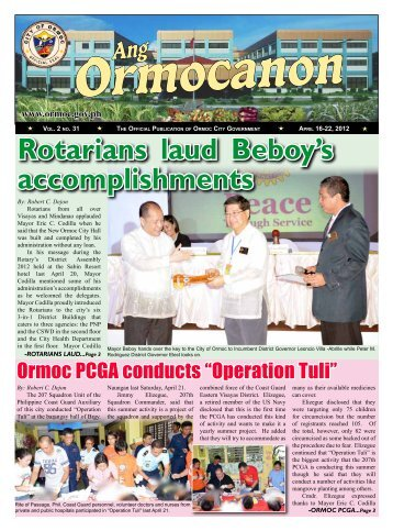 Rotarians laud Beboy's accomplishments - City Government of Ormoc