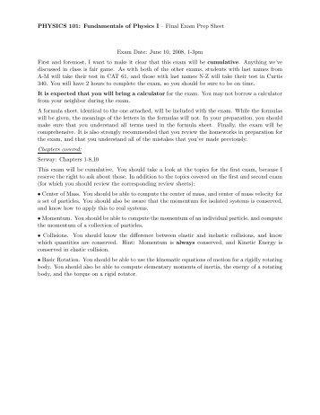 PHYSICS 101: Fundamentals of Physics I – Final Exam Prep Sheet ...