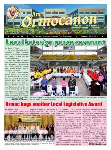 Local bets sign peace covenant - City Government of Ormoc