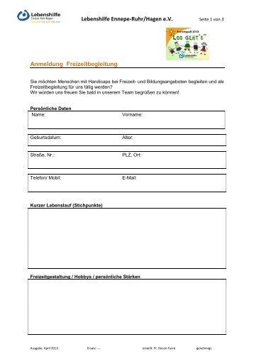 Formular - Lebenshilfe Ennepe-Ruhr/Hagen eV