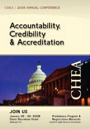 CHEA 2008 Annual Conference - Council for Higher Education ...