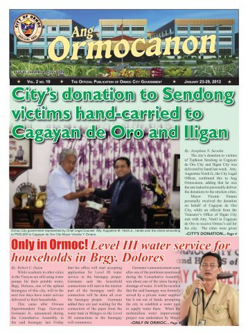 City's donation to Sendong victims hand-carried to Cagayan de Oro ...