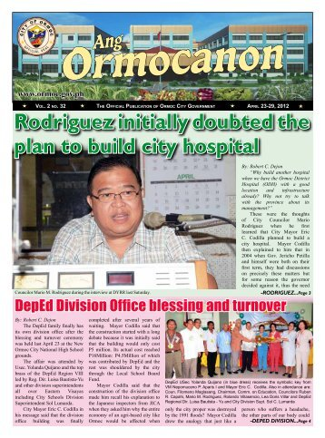 Rodriguez initially doubted the plan to build city hospital - Ormoc