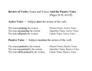 Review of Verbs (Tense and Voice) And the Passive Voice (Pages ...