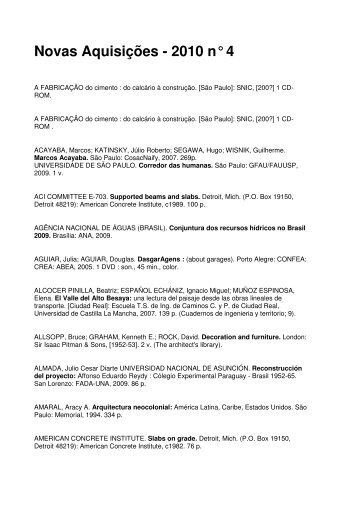 Novas Aquisições - 2010 n° 4 - Escola de Arquitetura - UFMG
