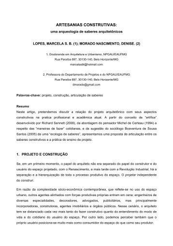 ARTESANIAS CONSTRUTIVAS: - Escola de Arquitetura - UFMG