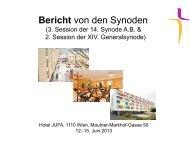 Bericht von den Synoden - Evangelische Kirche Wien